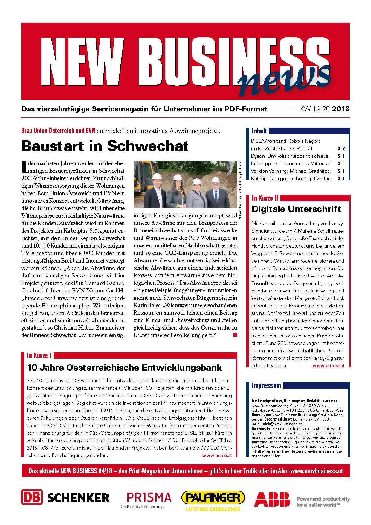 Cover: NEW BUSINESS News - 19-20/2018
