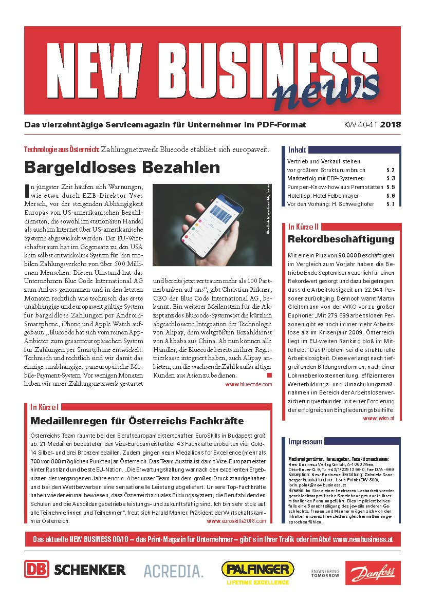 Cover: NEW BUSINESS News - 40-41/2018